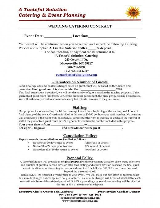 Wedding Catering Contract Template Food and Beverage Tips for Your Wedding