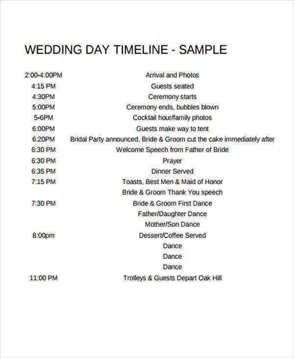 Wedding Ceremony Timeline Template 6 Wedding Day Timeline Templates Free Samples Examples