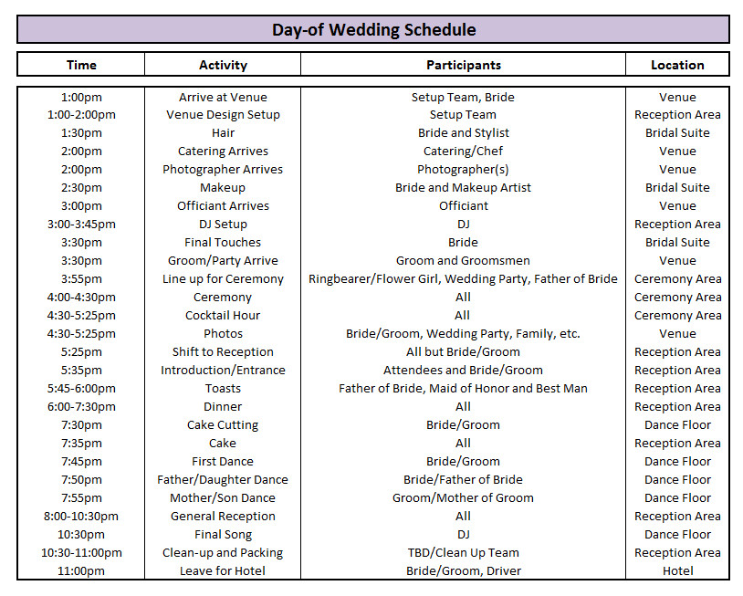 Wedding Ceremony Timeline Template Day Of Wedding Schedule Great Tips for Planning Out Your