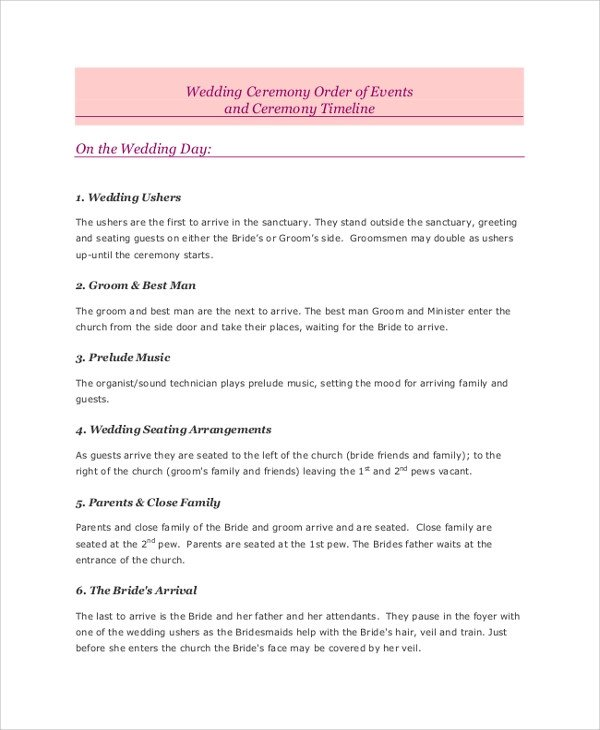 Wedding Ceremony Timeline Template Sample Wedding Timeline 7 Documents In Pdf