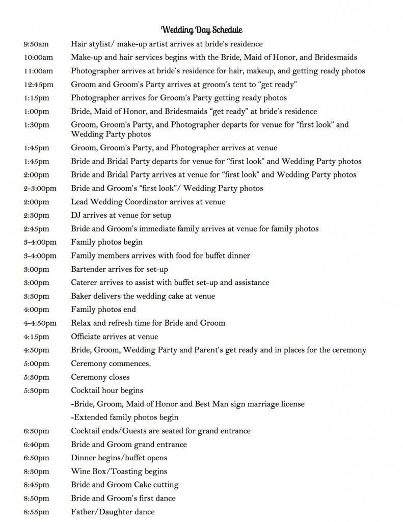 Wedding Ceremony Timeline Template Wedding Day Schedule to Keep Your Day Running Smoothly