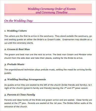 Wedding Ceremony Timeline Template Wedding Day Timeline 7 Free Pdf Documents Download