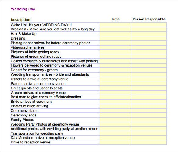Wedding Day Schedule Templates 17 Wedding Schedule Templates Psd Pdf Doc Xls