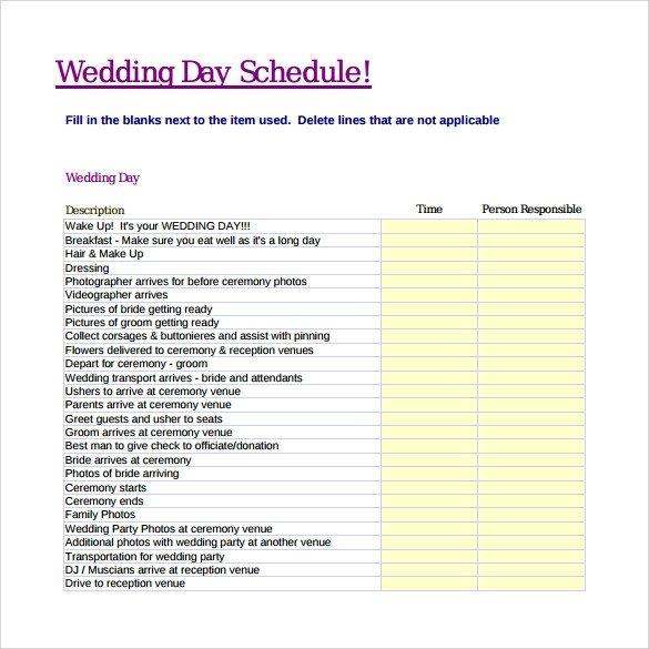Wedding Day Schedule Templates Sample Wedding Schedule 9 Documents In Pdf