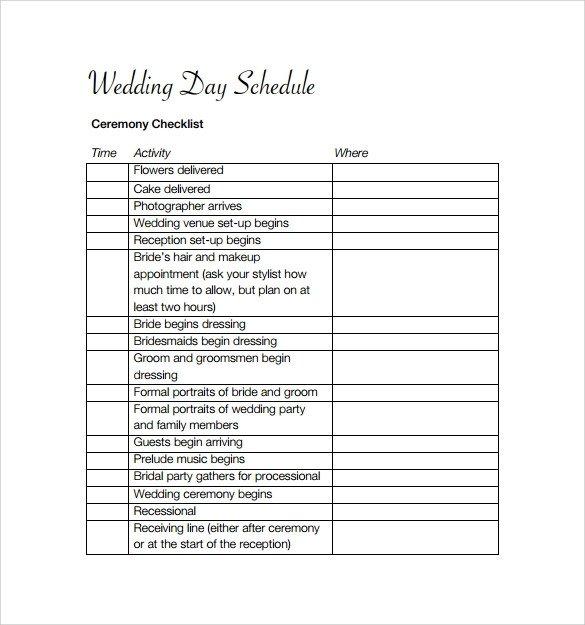 Wedding Day Schedule Templates Sample Wedding Schedule Template 11 Documents In Pdf