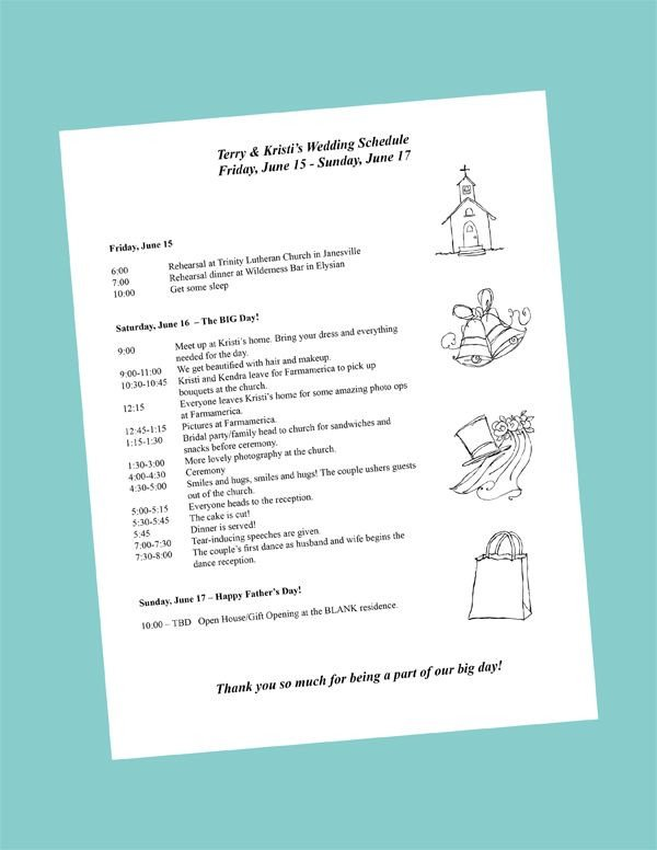 Wedding Day Schedule Templates Wedding Day Itinerary On Pinterest