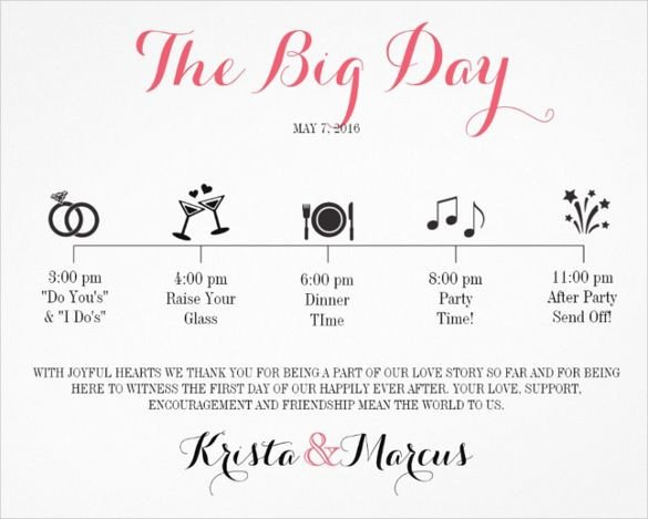 Wedding Day Schedule Templates Wedding Itinerary Template 11 Free Word Pdf Documents