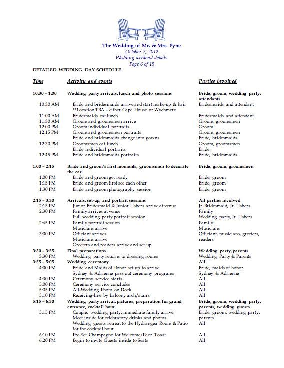 Wedding Day Schedule Templates Wedding Weekend Template