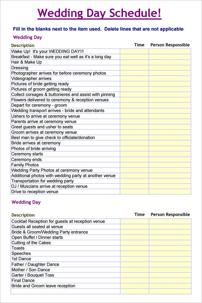 Wedding Day Timeline Template Excel 28 Wedding Schedule Templates & Samples Doc Pdf Psd