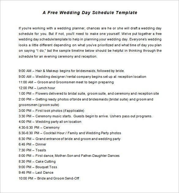 Wedding Day Timeline Template Excel 30 Wedding Timeline Templates Psd Ai Eps Pdf Word