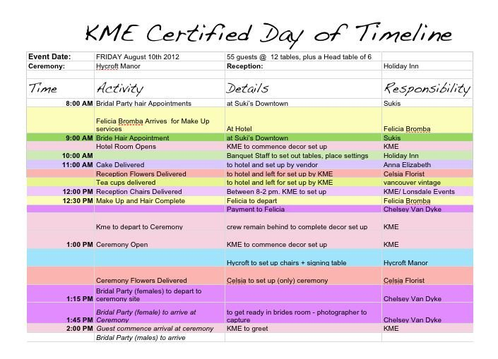 Wedding Day Timeline Template Excel Best 25 Wedding Timeline Template Ideas On Pinterest
