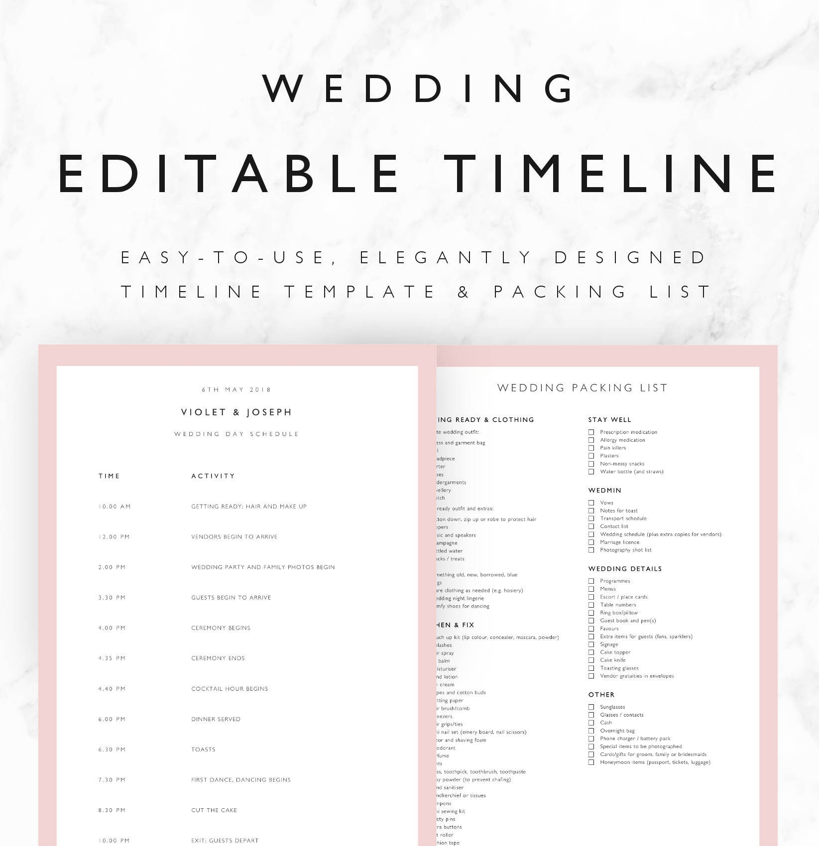 Wedding Day Timeline Template Excel Violet Wedding Timeline Template Minimal Bridal Wedding Day