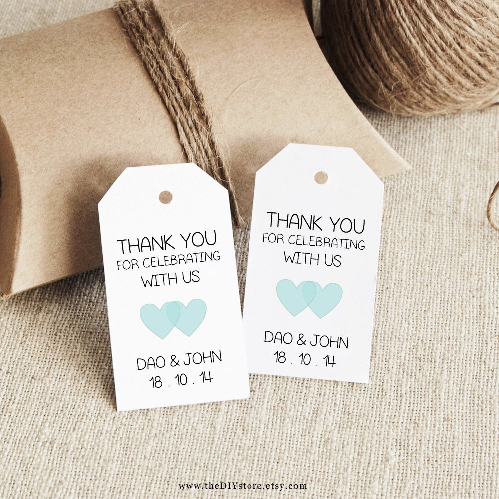 Wedding Favor Tags Templates Favor Tag Template Printable Small Double Heart Design