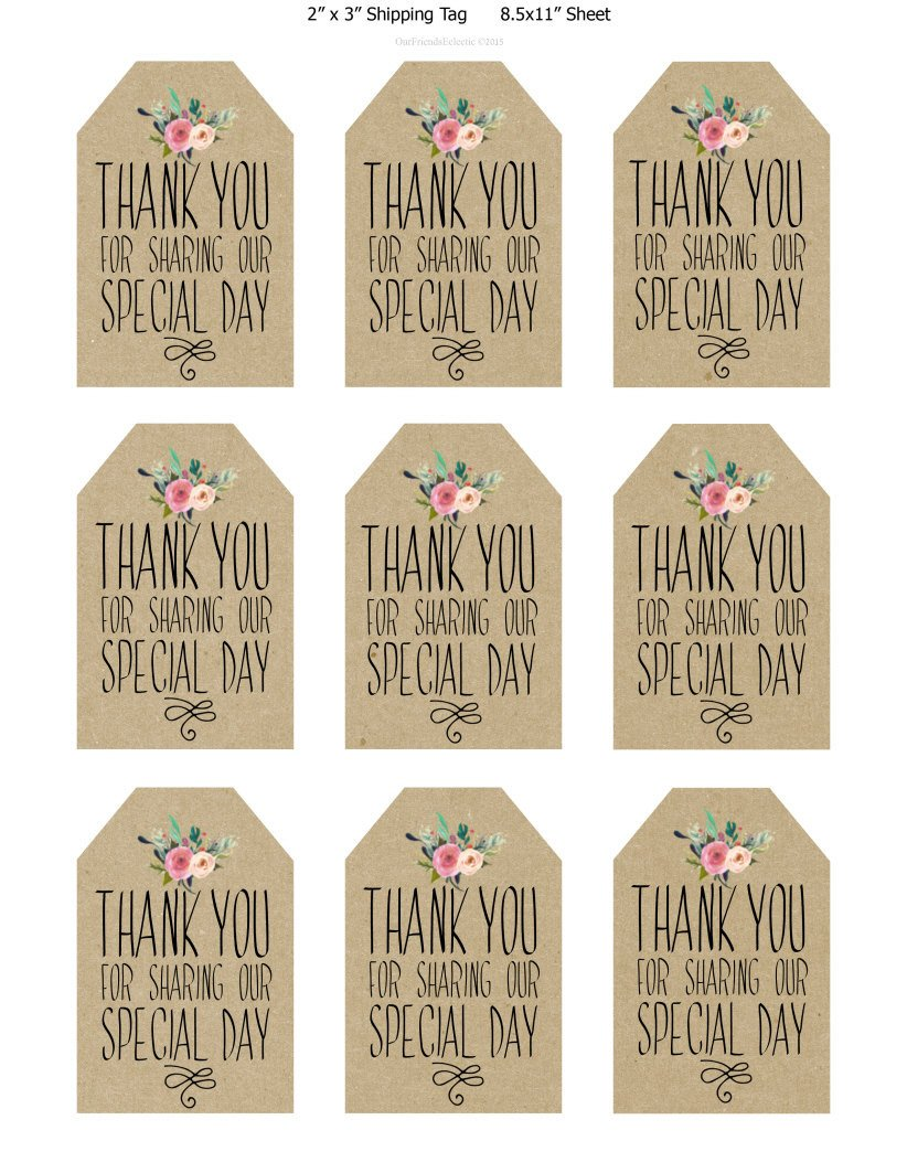 Wedding Favor Tags Templates Printable Wedding Favor Tags Thank You Printable Tags
