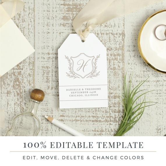 Wedding Favor Tags Templates Wedding Favor Tag Template Printable Hang Tags Word or
