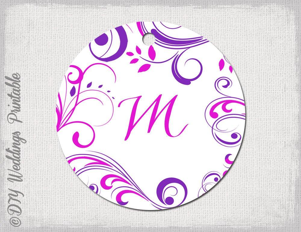 Wedding Favor Tags Templates Wedding Favor Tags Template Pink & Purple Monogram