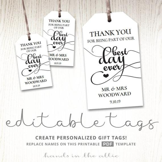 Wedding Favors Tags Template Gift Tags for Wedding Day Thank You Best Day Ever