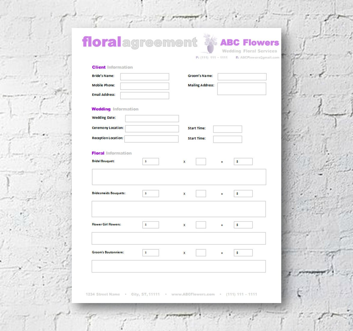 Wedding Florist Contract Template Floral Shop Bridal Agreement Contract Template Editable