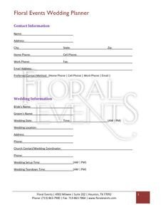 Wedding Florist Contract Template Floral Shop Bridal Agreement Contract Template