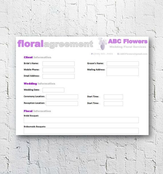Wedding Florist Contract Template Florist Bridal Wedding Agreement Floral Business Contract