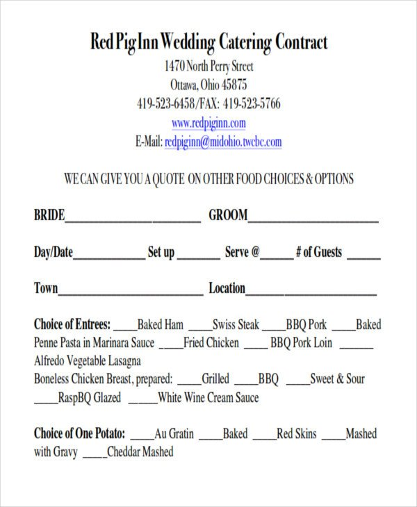 Wedding Florist Contract Template Sample Wedding Contract Agreements 9 Examples In Word Pdf