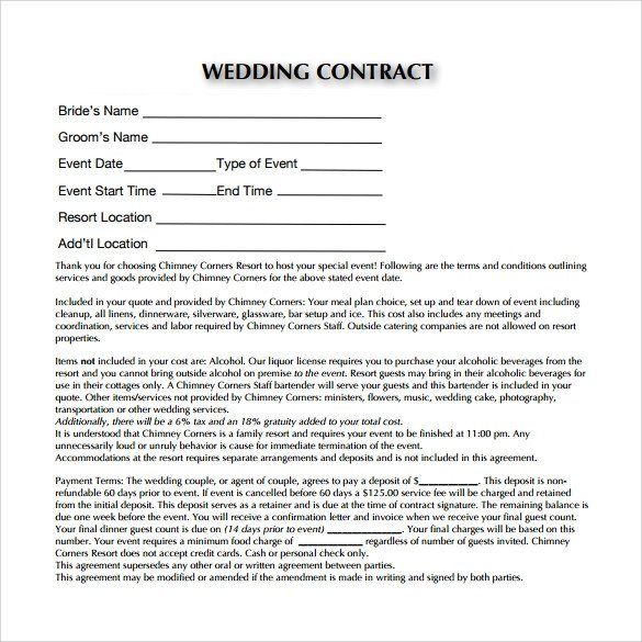 Wedding Florist Contract Template Wedding Contract Template 23 Download Documents In Pdf