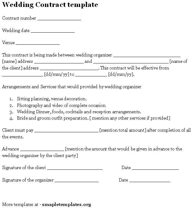 Wedding Florist Contract Template Wedding Contract Template Sample Templates