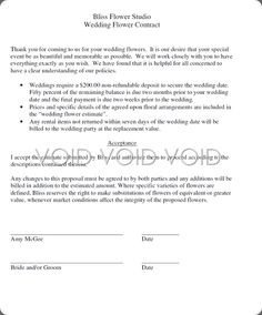 Wedding Florist Contract Template Wedding Flower Contracts Documents In 2019