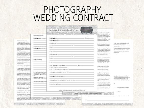Wedding Florist Contract Template Wedding Graphy Contract Business forms Flowers Editable