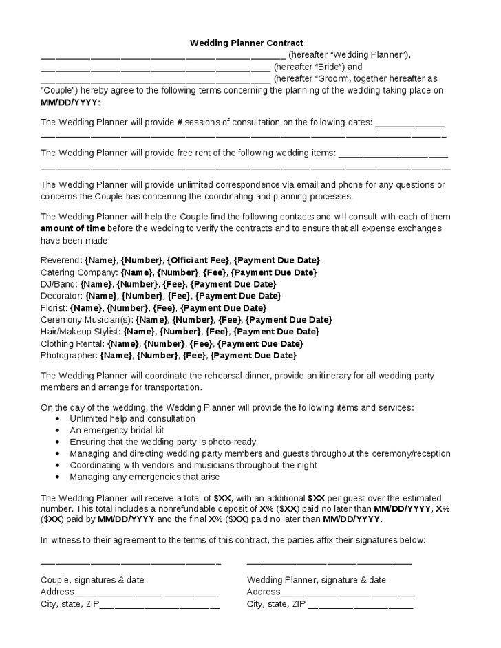 Wedding Florist Contract Template Wedding Planner Contract