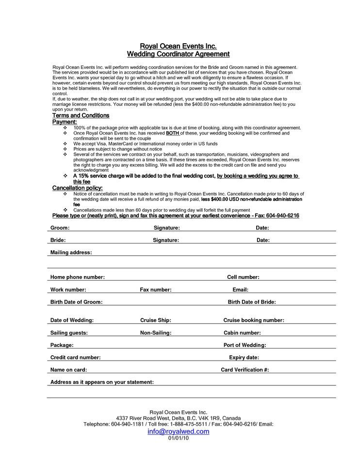 Wedding Florist Contract Template Wedding Planner Contract Sample Templates