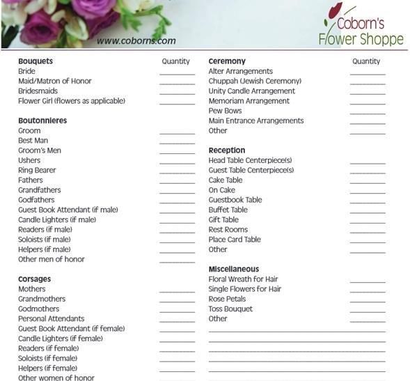 Wedding Flower Checklist Template 5 Steps for A Better Florist Wedding Website