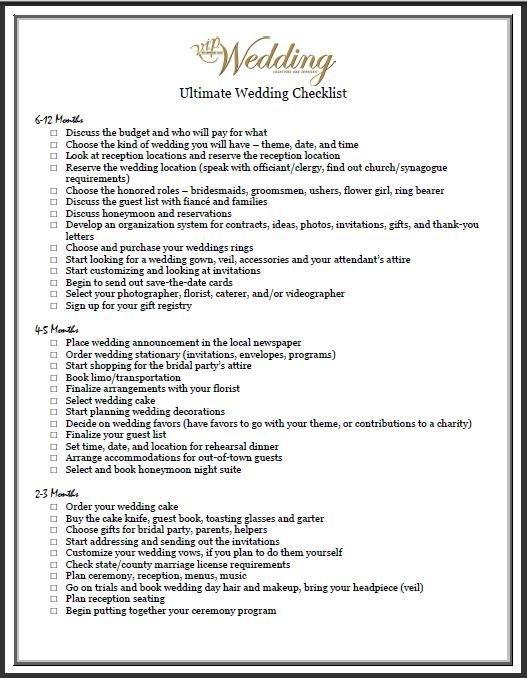 Wedding Flower Checklist Template Bud Wedding Checklists On Pinterest