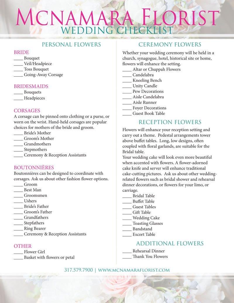 Wedding Flower Checklist Template Checklist for Your Wedding Flowers Mcnamara Florist