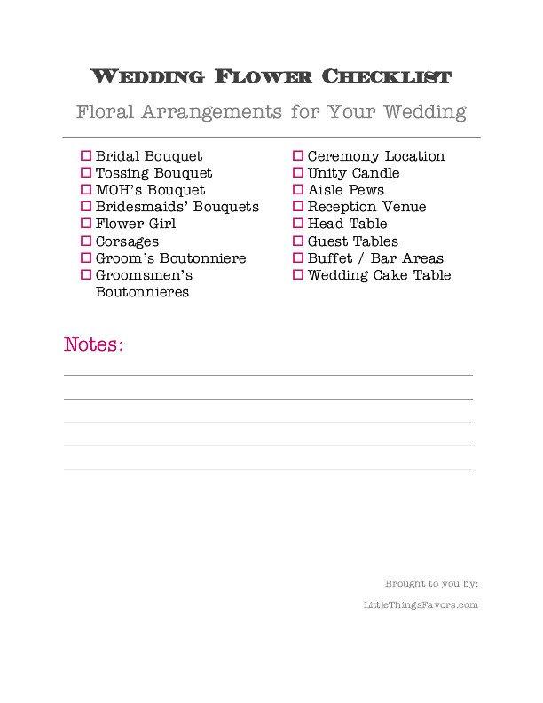 Wedding Flower Checklist Template Printable Wedding Flower Checklist