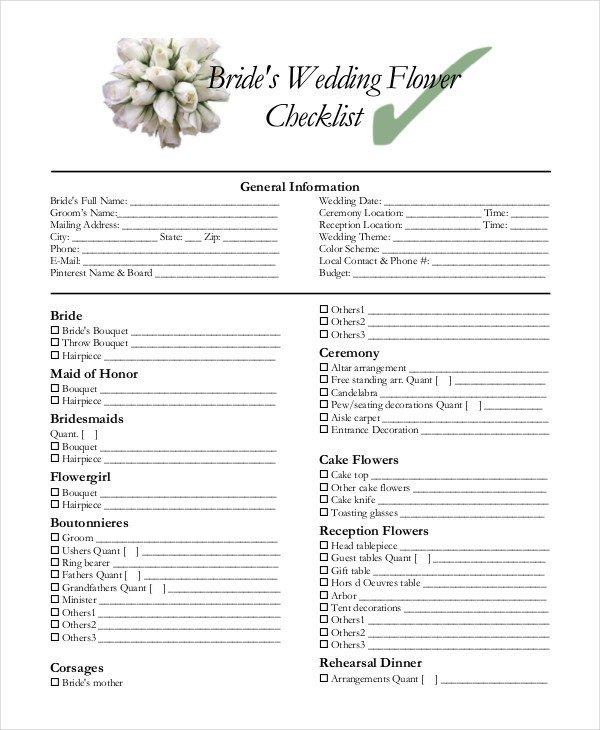 Wedding Flower Checklist Template Wedding Decoration Checklist Pdf
