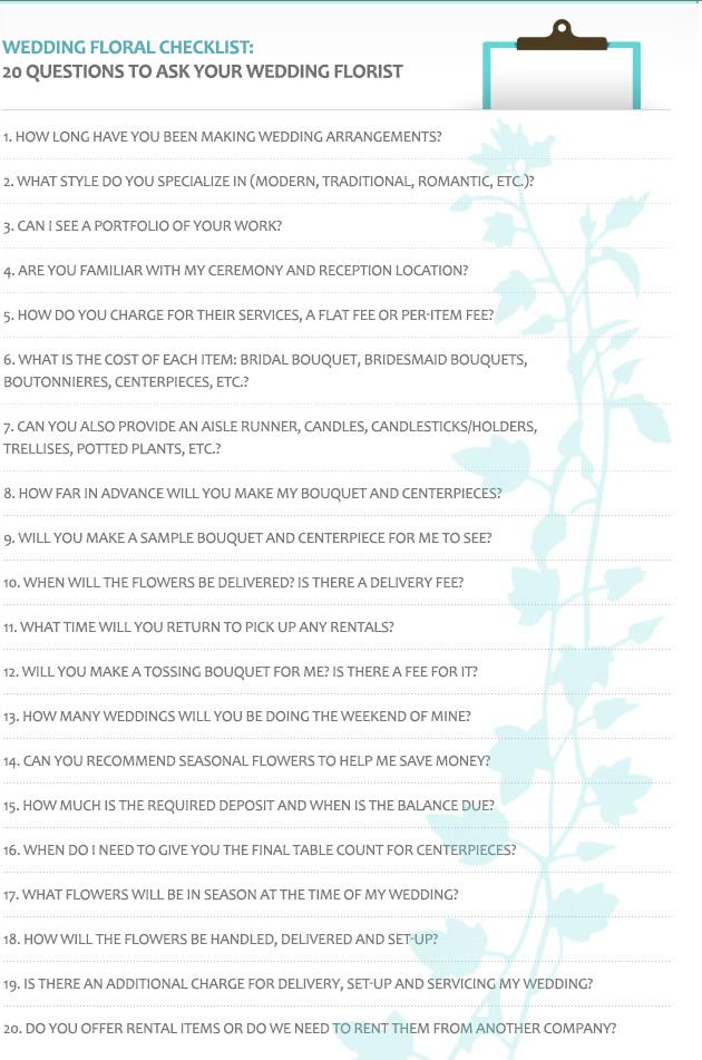 Wedding Flower Checklist Template Wedding Floral Checklist