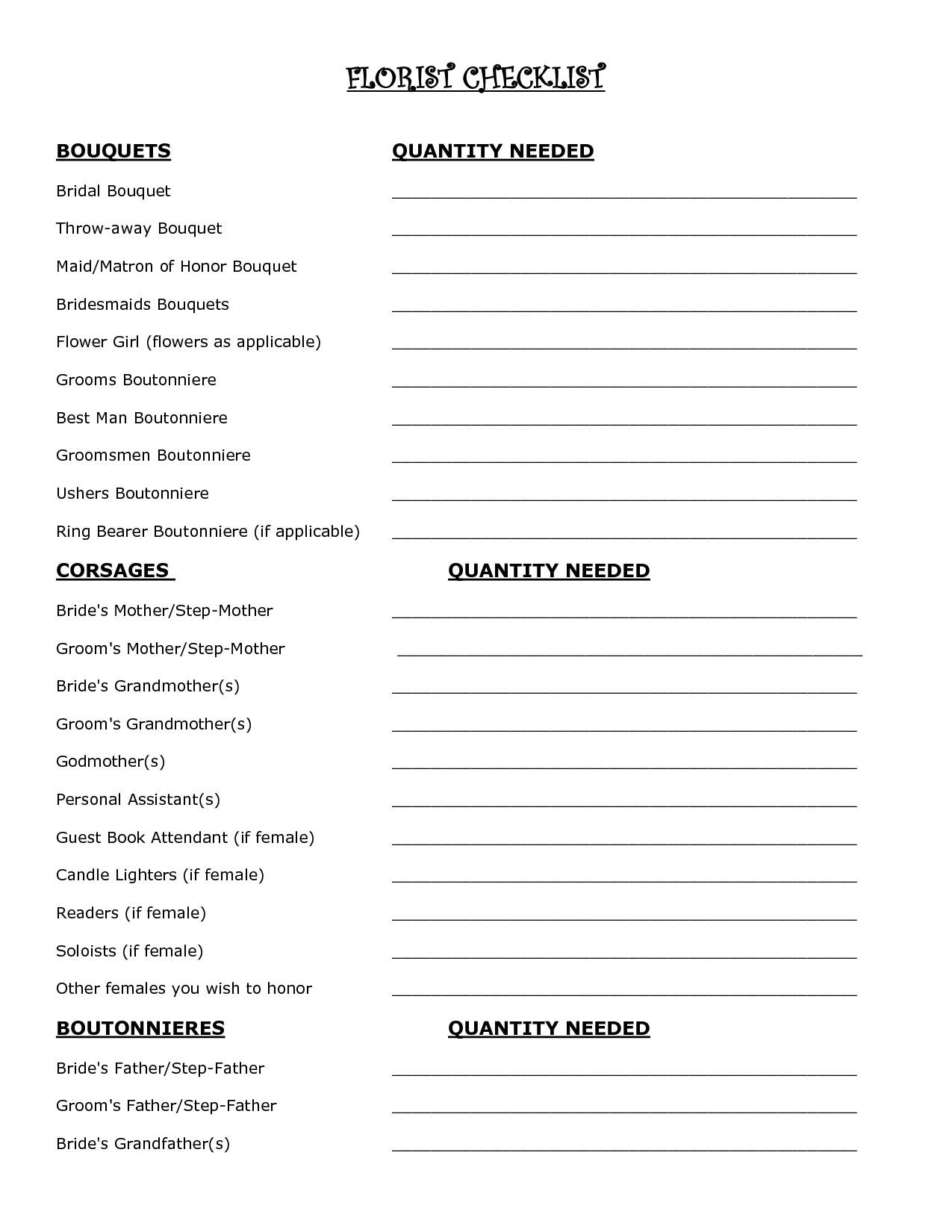 Wedding Flower Checklist Template Wedding Flowers Check List Google Search