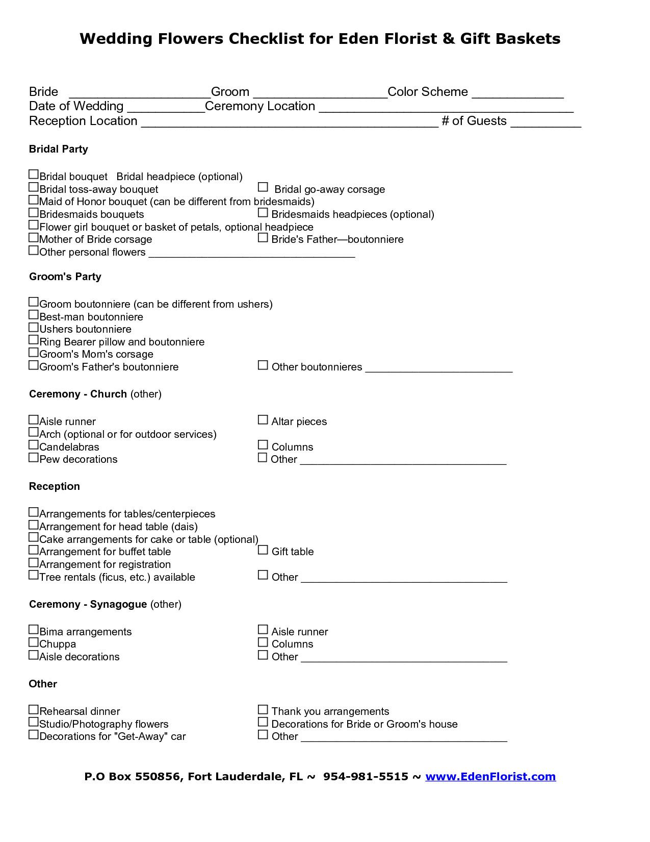 Wedding Flower Checklist Template Wedding Flowers Flower Checklist for Wedding