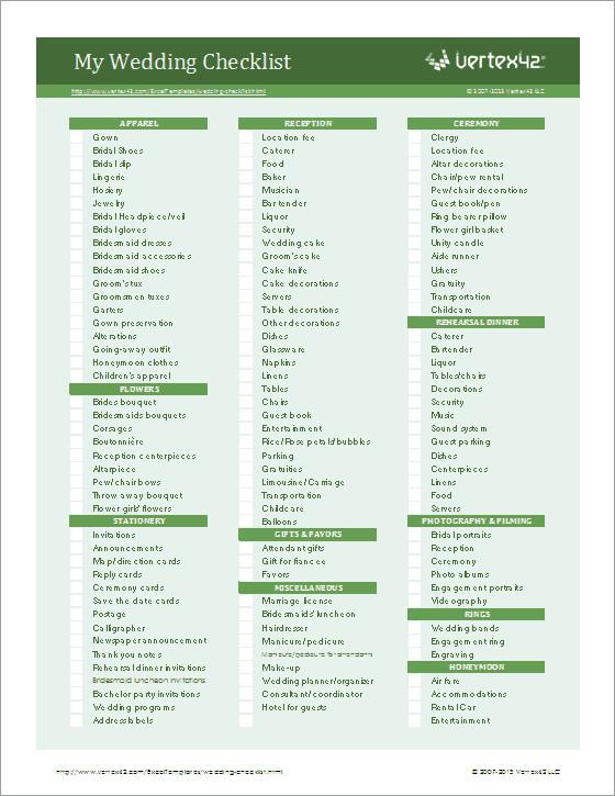 Wedding Flower Checklist Template Wedding Planning Checklist for Excel