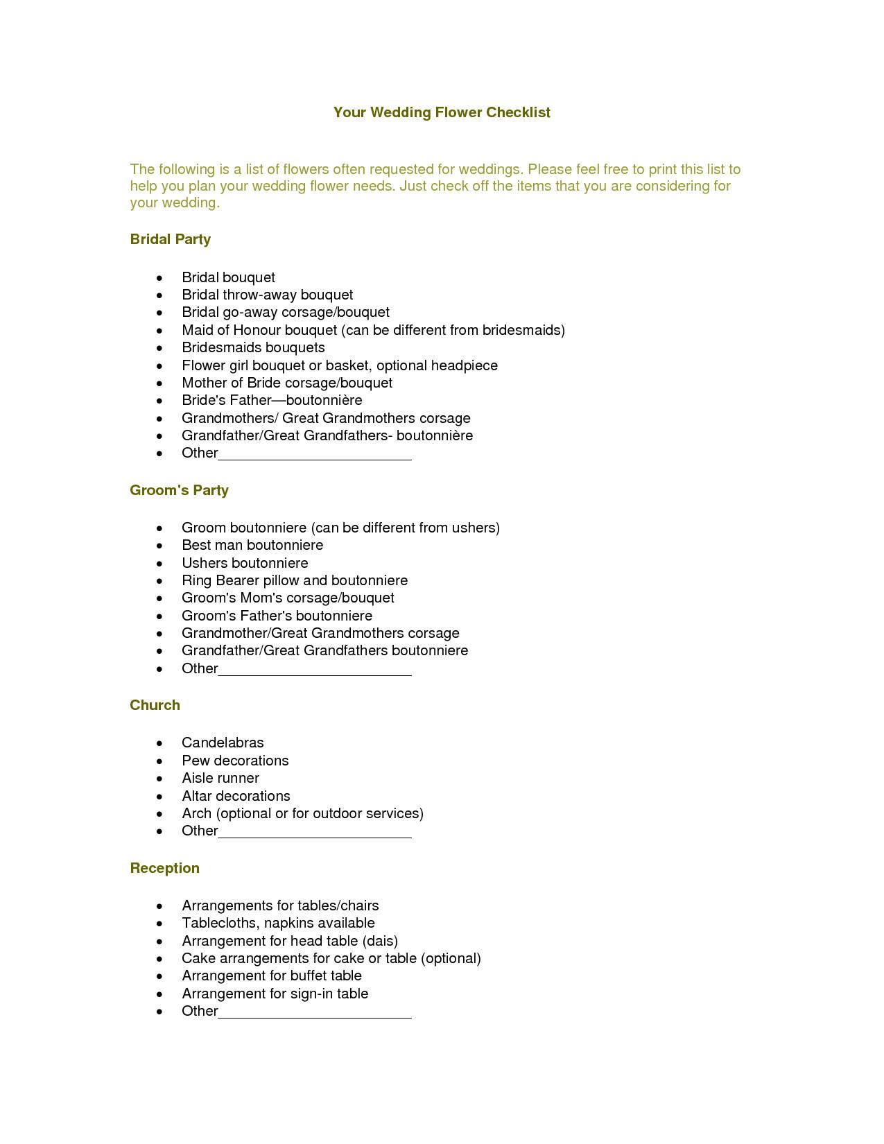 Wedding Flower Checklist Template Your Wedding Flower Checklist Wedding