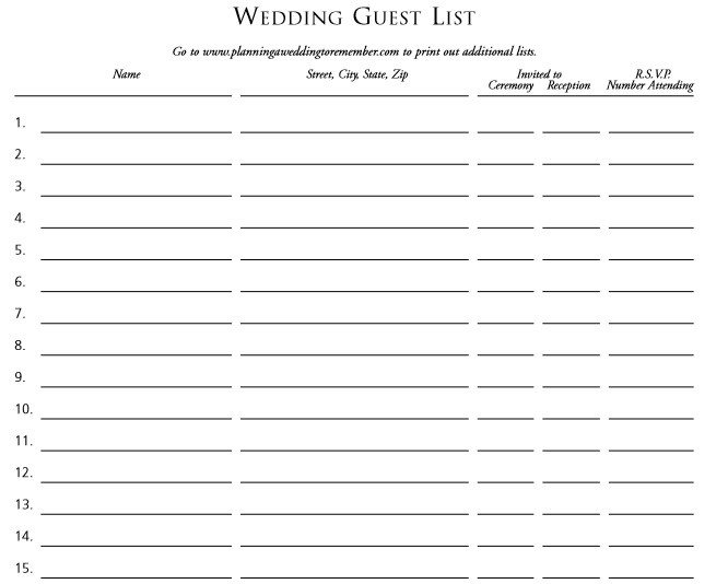 Wedding Guest List Printable 30 Free Wedding Guest List Templates Templatehub