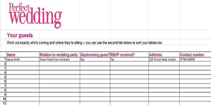 Wedding Guest List Printable 35 Beautiful Wedding Guest List & Itinerary Templates