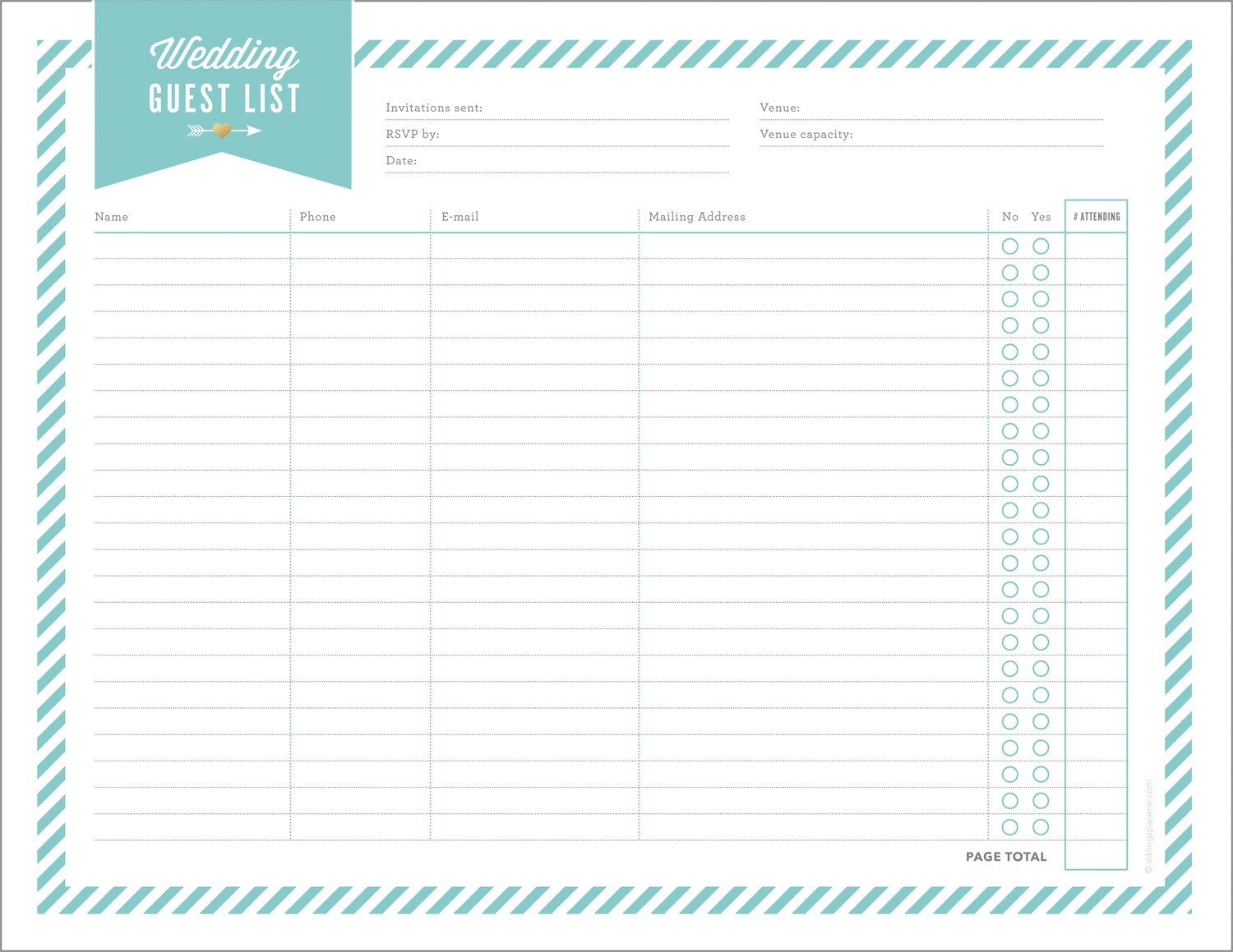 Wedding Guest List Printable Free Wedding Planning Printables & Checklists