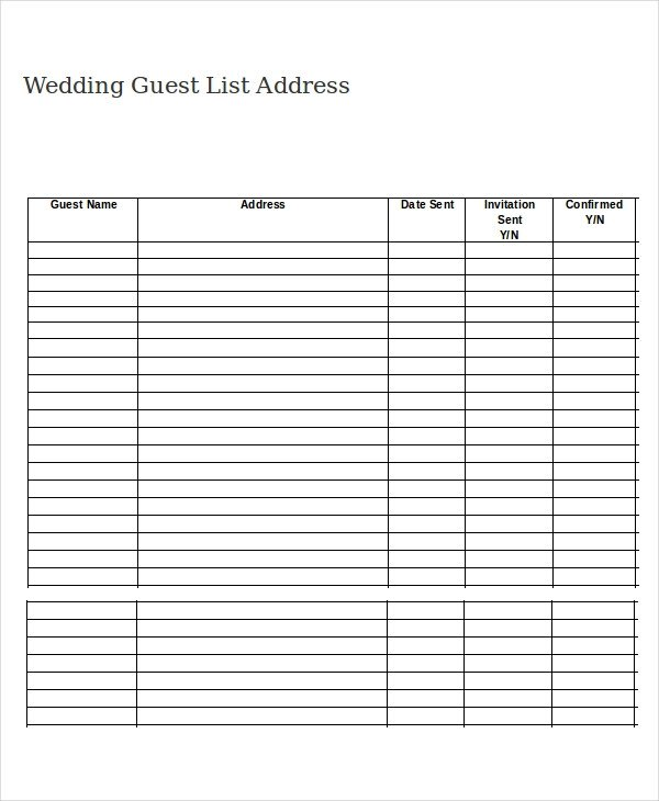 Wedding Guest List Printable Wedding Guest List Template 9 Free Word Excel Pdf