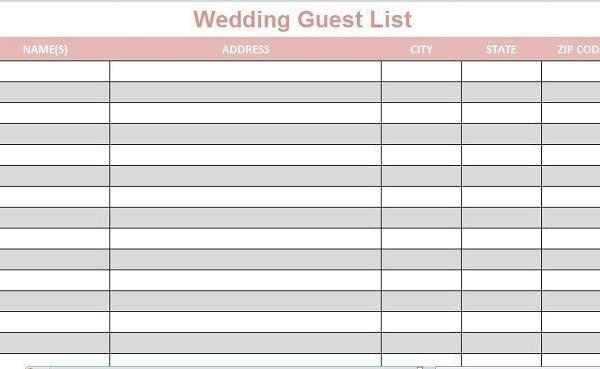 Wedding Guest List Printable Wedding Guest List Template Printable Full Lists Excel 2