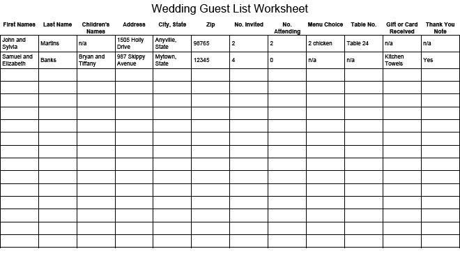 Wedding Guest List Printable Wedding Guest List Worksheet