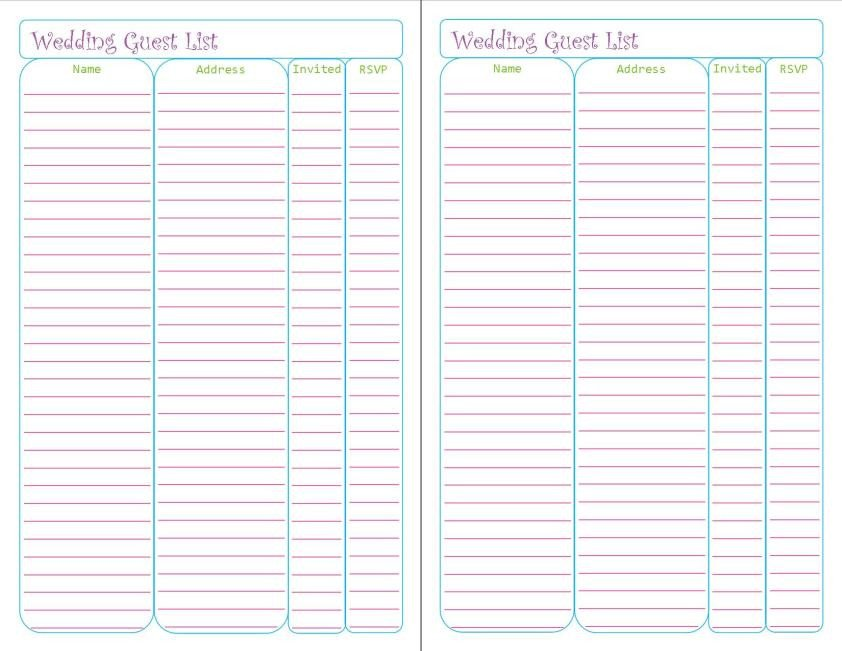 Wedding Guest List Printable Wedding Planner Printables – Peanut and Jellybean