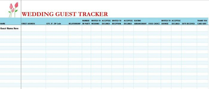 Wedding Guest List Template 17 Wedding Guest List Templates Excel Pdf formats