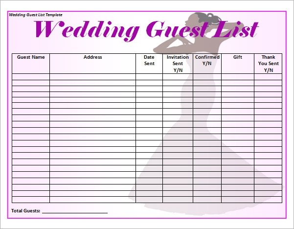 Wedding Guest List Template 17 Wedding Guest List Templates Pdf Word Excel